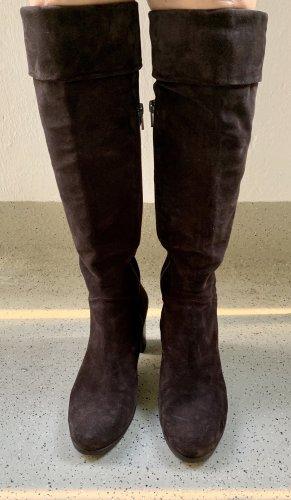 Vero Cuoio High Heel Boots dark brown leather