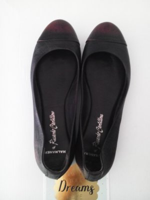 Vero Cuoio Ballerine en pointe noir-rouge mûre cuir