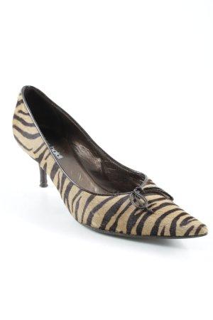 Vero Cuoio Spitz-Pumps schwarzbraun-beige Animalmuster Schleifen-Detail