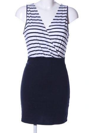 Vero Moda A-Linien Kleid weiß-schwarz Streifenmuster Casual-Look