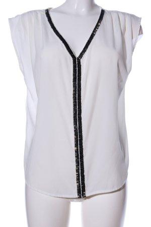 Vero Moda ärmellose Bluse weiß-schwarz Business-Look