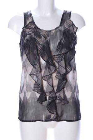 Vero Moda ärmellose Bluse schwarz-creme abstraktes Muster Casual-Look