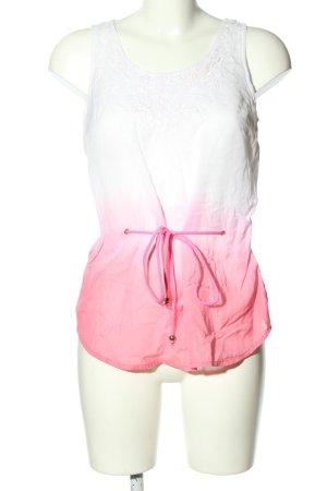 Vero Moda ärmellose Bluse weiß-pink Farbverlauf Casual-Look