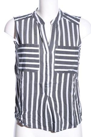 Vero Moda ärmellose Bluse weiß-hellgrau Streifenmuster Casual-Look
