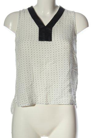 Vero Moda ärmellose Bluse weiß-schwarz Punktemuster Casual-Look