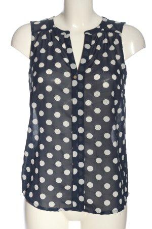 Vero Moda ärmellose Bluse blau-weiß Punktemuster Casual-Look