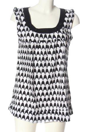 Vero Moda ärmellose Bluse schwarz-weiß abstraktes Muster Elegant