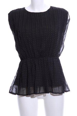 Vero Moda ärmellose Bluse schwarz-creme Punktemuster Casual-Look