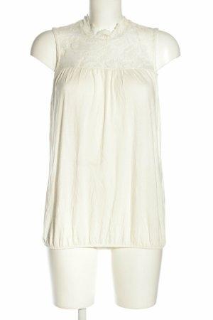 Vero Moda ärmellose Bluse Top mit Spitzenbesatz weiß Gr. S