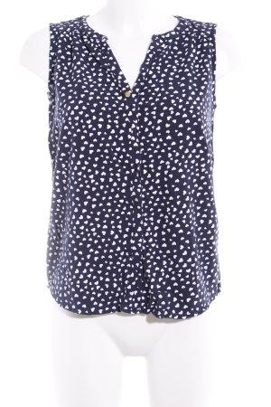 Vero Moda ärmellose Bluse weiß-dunkelblau Herzmuster Casual-Look