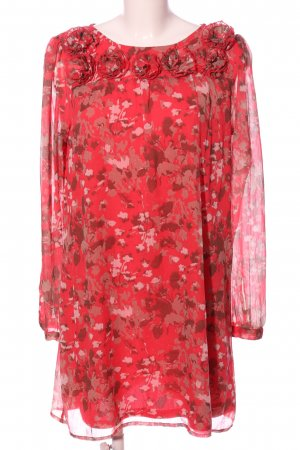 Vero Moda Babydollkleid rot-wollweiß abstraktes Muster Business-Look