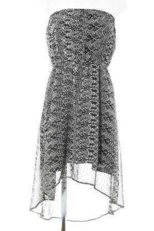Vero Moda Bandeaukleid schwarz-graubraun abstraktes Muster Casual-Look