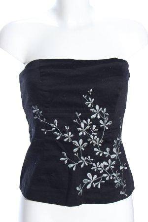 Vero Moda Bandeautop schwarz-silberfarben Blumenmuster Casual-Look