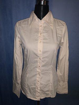 Vero Moda Bluse Hemd Basic tailliert Stretch langarm creme beige Spitzkragen