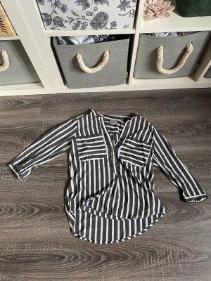 Vero Moda Bluse Hemd streifen Brusttasche gestreift schwarz weiß