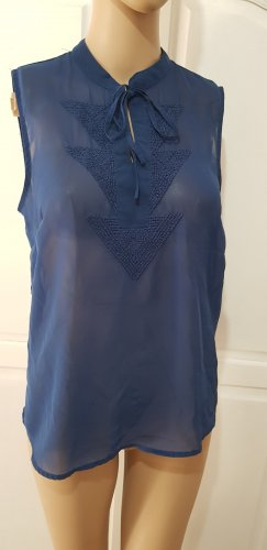 vero moda bluse Oberteil blau transparent