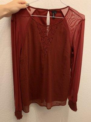 Vero Moda Bluse Shirt Bordeaux rot M 38 Spitze langärmlig