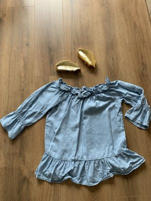 Vero Moda Bluse Shirt hellblau blau Carmen Schulterfrei S 36 Volants