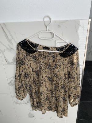 Vero Moda Bluse xs beige schwarz spitze Muster