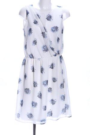 Vero Moda Blusenkleid weiß-blau abstraktes Muster Elegant