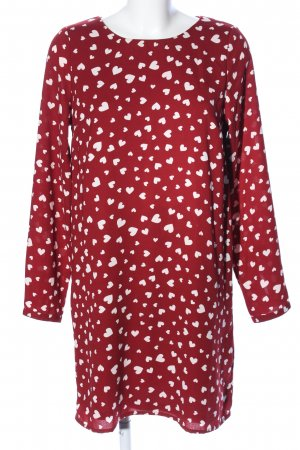 Vero Moda Blusenkleid rot-weiß Allover-Druck Casual-Look