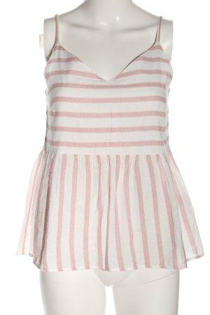 Vero Moda Blusentop weiß-pink Streifenmuster Casual-Look
