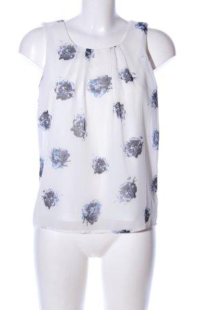 Vero Moda Blusentop weiß-blau Blumenmuster Casual-Look