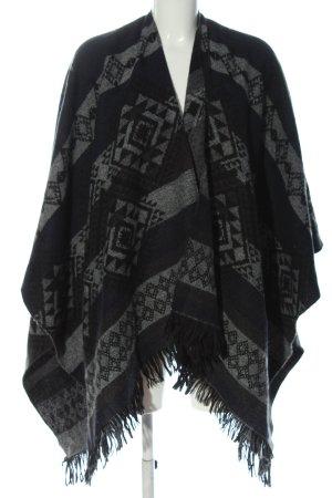 Vero Moda Poncho noir-gris clair motif graphique style décontracté
