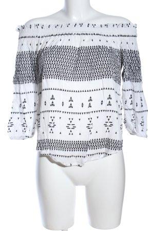 Vero Moda Carmen-Bluse weiß-schwarz grafisches Muster Casual-Look