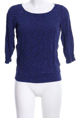 Vero Moda Carmen blouse blauw-zwart volledige print casual uitstraling