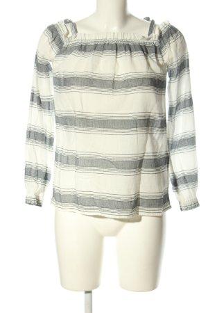 Vero Moda Carmen blouse wit-lichtgrijs gestreept patroon casual uitstraling