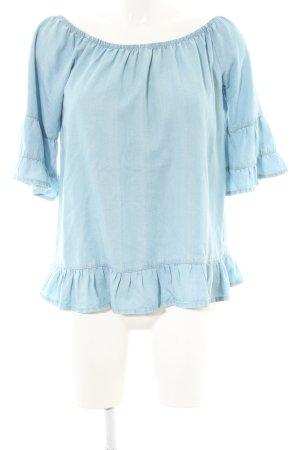 Vero Moda Carmen blouse blauw casual uitstraling