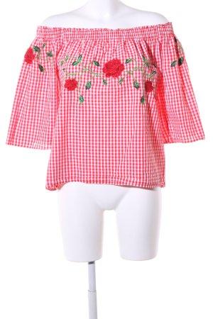 Vero Moda Carmen blouse rood-wit geruite print casual uitstraling