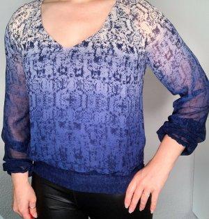 Vero Moda Chiffon Bluse blau weiß dip dye Farbverlauf Gr. XS