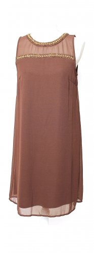 Vero Moda Cocktailkleid Abendkleid Kleid Midikleid braun gold