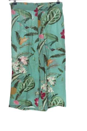 Vero Moda Culottes türkis-khaki Blumenmuster Casual-Look