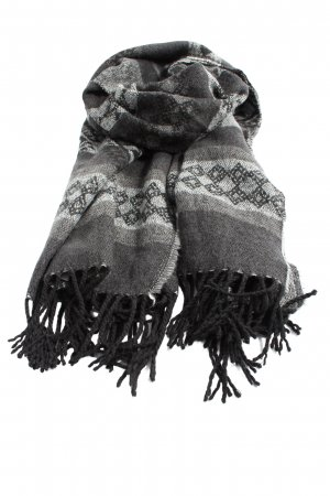 Vero Moda Fransenschal schwarz-hellgrau grafisches Muster Casual-Look