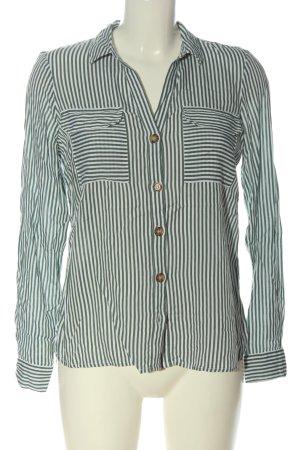 Vero Moda Hemd-Bluse khaki-weiß Streifenmuster Casual-Look