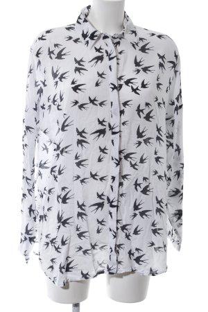 Vero Moda Hemd-Bluse weiß-schwarz Allover-Druck Casual-Look