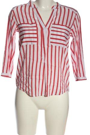 Vero Moda Hemd-Bluse weiß-rot Streifenmuster Business-Look