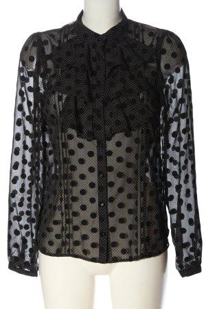 Vero Moda Hemd-Bluse schwarz-wollweiß Punktemuster Elegant