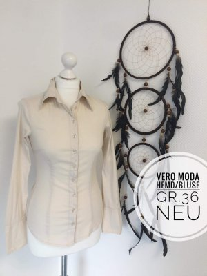 Vero Moda Hemd neuwertig 36 beige langarm Oberteil Business büro
