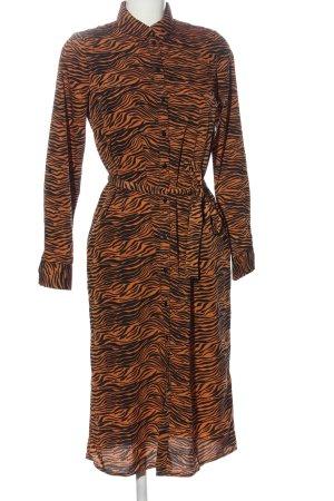 Vero Moda Hemdblusenkleid hellorange-schwarz Streifenmuster Casual-Look