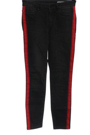Vero Moda High Waist Jeans schwarz-rot Streifenmuster Casual-Look