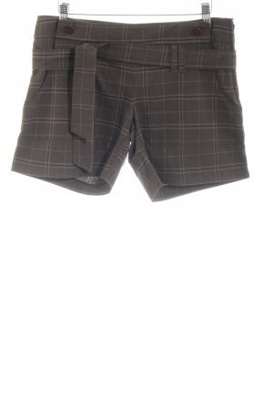 Vero Moda High-Waist-Shorts braun-wollweiß Karomuster Casual-Look
