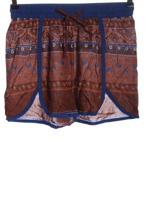 Vero Moda High-Waist-Shorts braun-blau abstraktes Muster Casual-Look