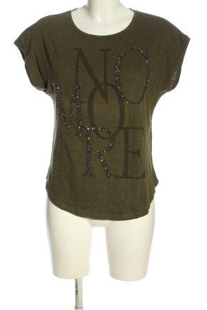 Vero Moda Print-Shirt khaki Schriftzug gedruckt Casual-Look