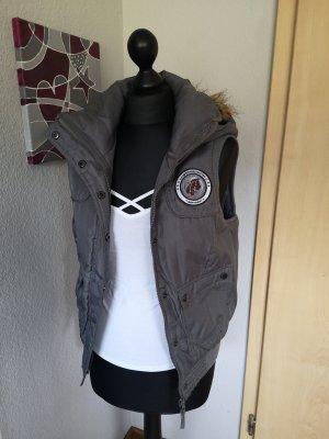 Vero Moda Jeans Damen Weste grau Anthrazit mit Kapuze Größe S 34 36