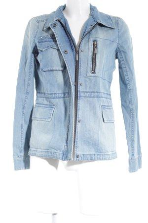 Vero Moda Jeansjacke stahlblau-hellbeige Casual-Look