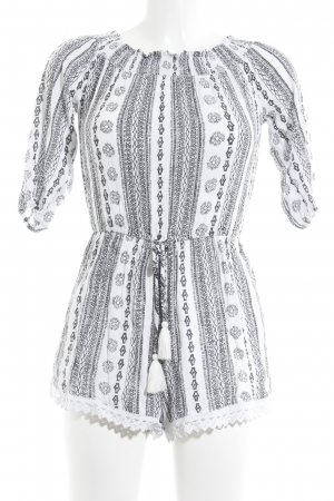 Vero Moda Jumpsuit schwarz-weiß abstraktes Muster Casual-Look
